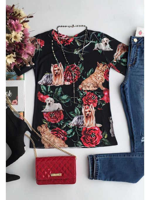T-shirt-Dog-Flower