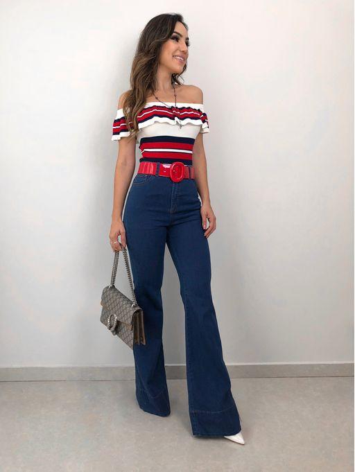 217b85bc28 Calca Flare Jeans - Estacao Store