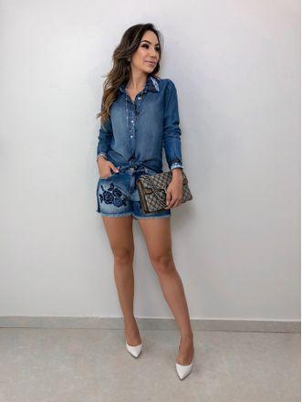 Shorts-Jeans-Florali