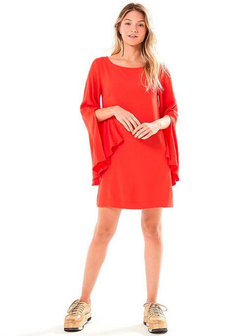 15e41036c Vestido Curto Manga Longa Fenda Vermelho - Estacao Store
