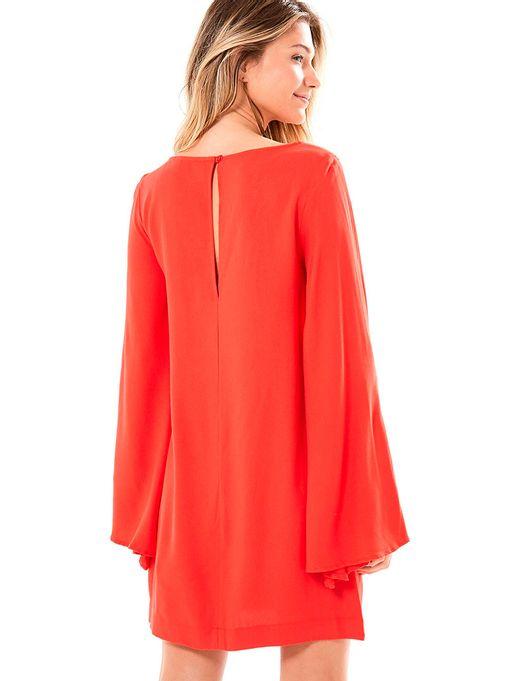 4d9d9cc62a Vestido Curto Manga Longa Fenda Vermelho - Estacao Store