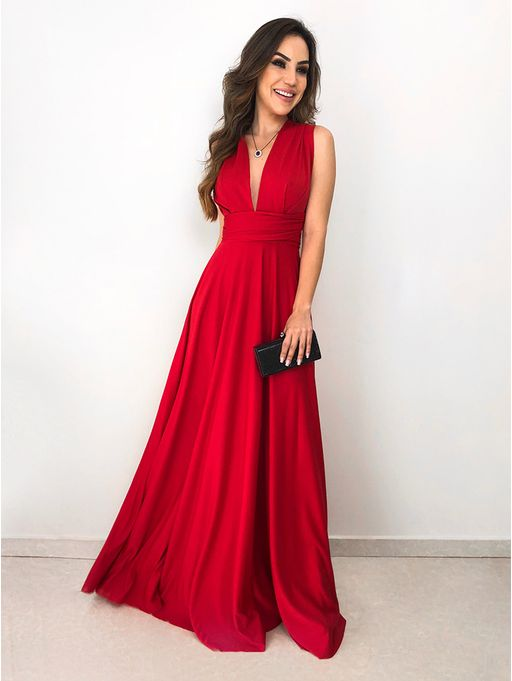 e2bd4715c Vestido Longo de Festa Maluma Vermelho - Estacao Store