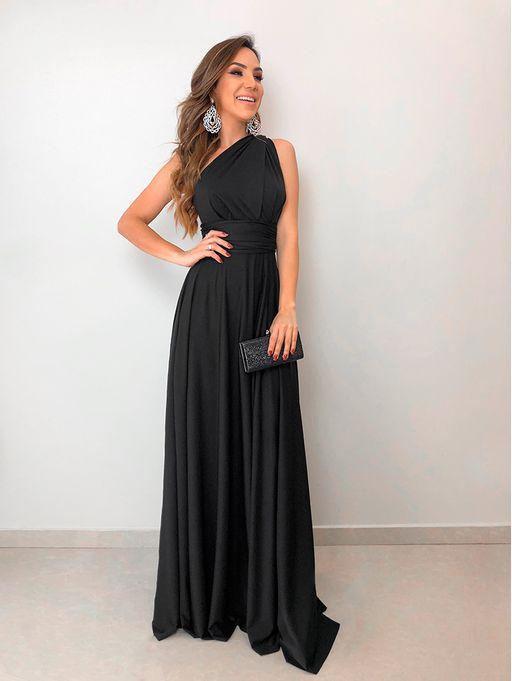 4116a69438 Vestido Longo de Festa Maluma Preto - Estacao Store