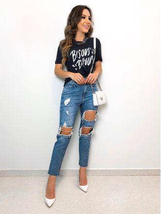 T-shirt-Bisous-Preto