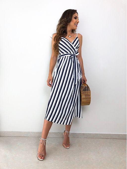 3e07c904a Vestido Longo Listras Katia Azul - Estacao Store