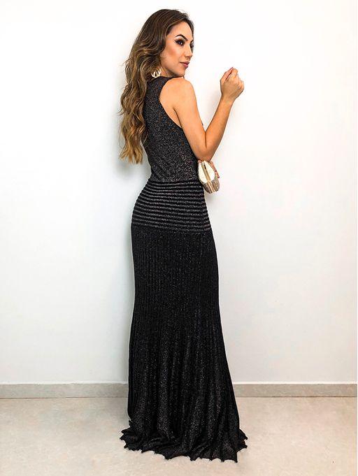 8a5a6772b Vestido Longo Glam Lurex Jaque Preto - Estacao Store