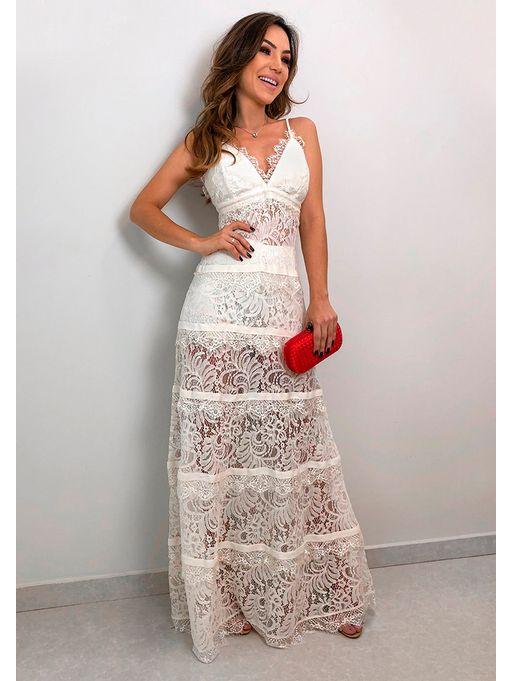 01a72fe2cb Vestido Longo Renda Noronha Off - Estacao Store