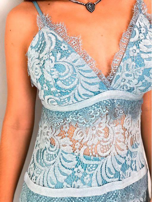 db6095ba13 Vestido Longo Renda Noronha Azul - Estacao Store
