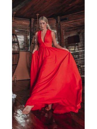 Vestido-Longo-Liso-Giulia-Vermelho
