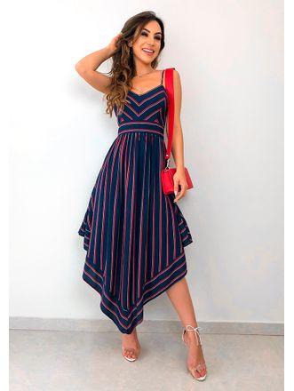 Vestido-Listrado-Ponta-Midi-Azul