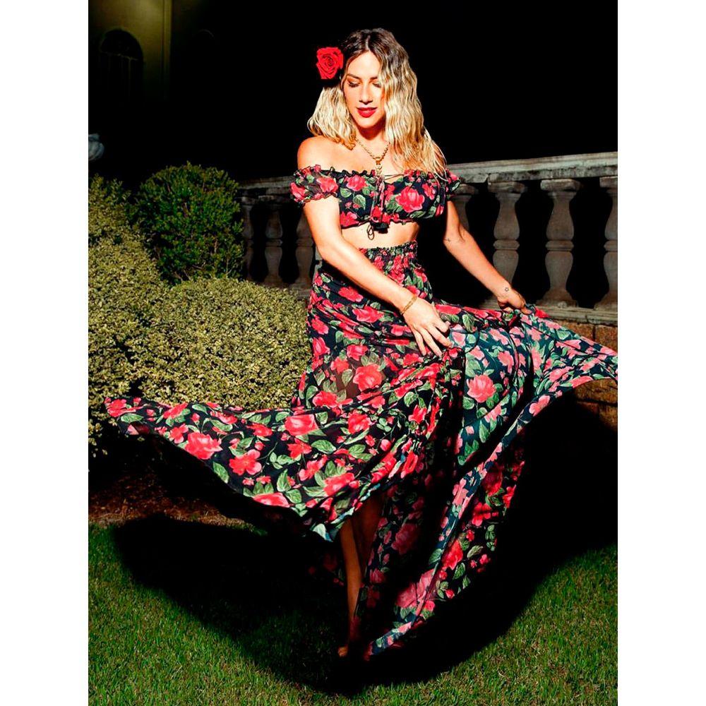 57621f3ec Saia Longa Janaina Floral Preta - Estacao Store