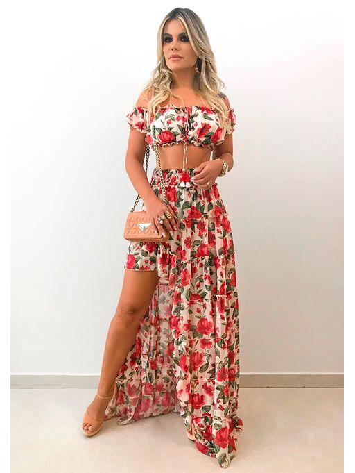 6b4a83882 Saia Longa Janaina Floral - Estacao Store