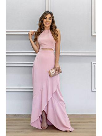 Vestido-Longo-Viscose-Rosa