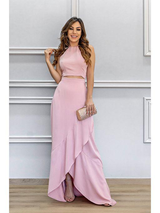 46c56754d Vestido Longo Viscose Rosa - Estacao Store