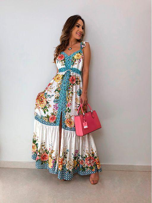 d2e045151 Vestido Longo Lenco Laurinda Farm - Estacao Store