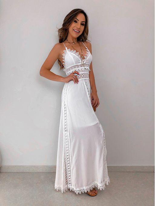 4ee179c391de Vestido Longo Entremeios Taci - Estacao Store