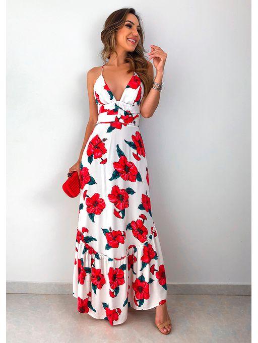 9b9f2b8c6 Vestido Longo Floral Hibisco Farm - Estacao Store
