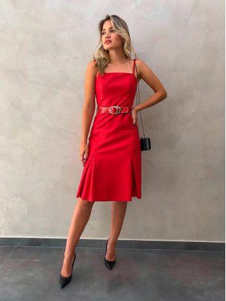 Vestido-Midi-em-Couro-Vermelho