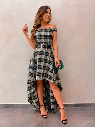 Vestido-Longo-Xadrez-Lara