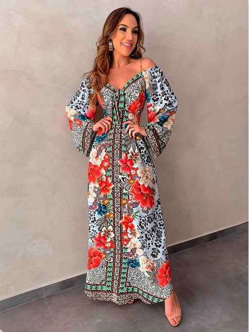 0935a71572 Vestido Longo Pavao do Oriente - Estacao Store