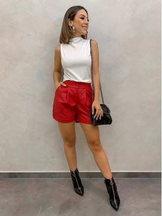 Shorts-Couro-Vip-Red