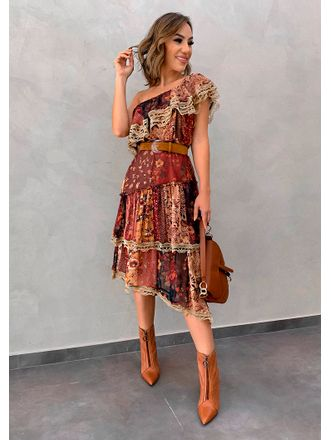 Vestido-Midi-Chiffon-Patchwork
