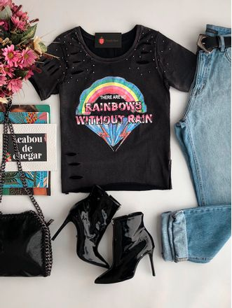 T-shirt-Rainbows-Preto
