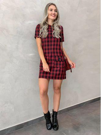 Vestido-Xadrez-Vichy-Preto-Com-Vermelho