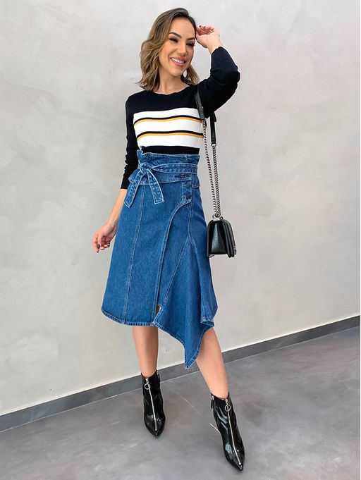 725905114 Saia Midi Lily Jeans - Estacao Store