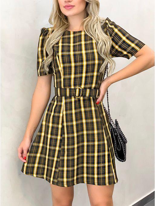 Vestido-Stella-Xadrez-Amarelo