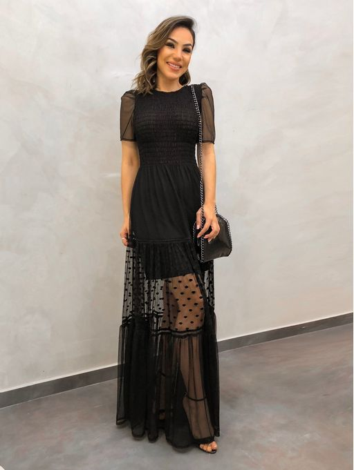 Vestido-Tule-Maite-Preto
