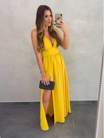 Vestido-Longo-Frise-Monalisa-Amarelo