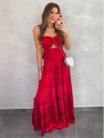 Vestido-Longo-de-Cetim-Com-Pregas-Vermelho