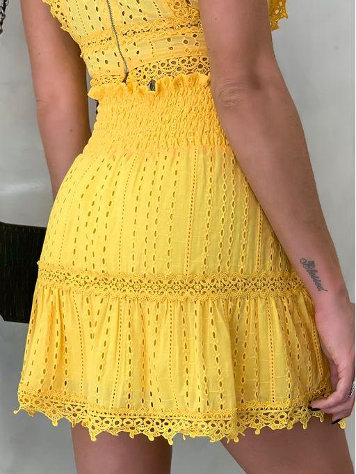 Saia-Mini-Lastex-Viviane-Amarelo