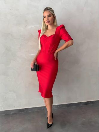 Vestido-Midi-Com-Corset-Vermelho
