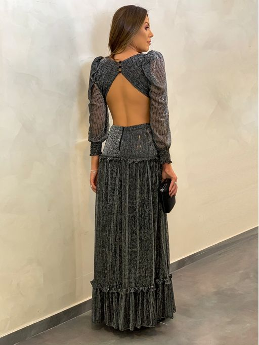 Vestido-Babado-Tule-Paete-Kamila