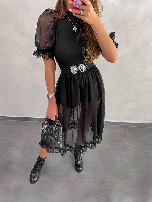 Vestido-Midi-Tule-Tela-Com-Rendas-Preto