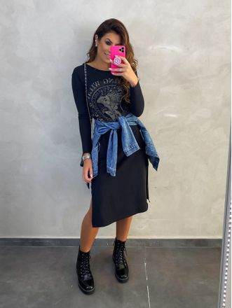 Vestido-Midi-Wild-Black