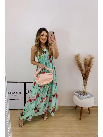 Vestido-Floral-Longo-Franzido-Verde