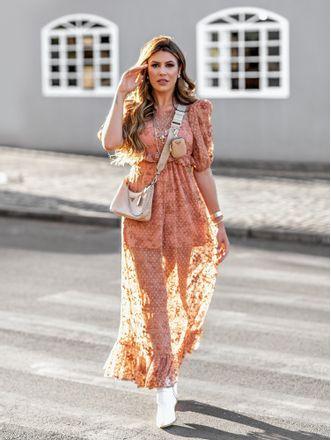 Vestido-Tule-Bordado-Longo-Marrom