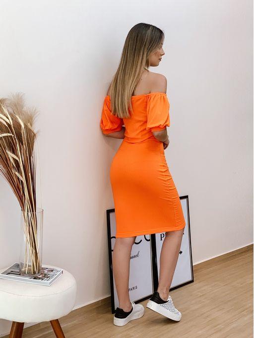 Vestido-Curto-Canelado-Laranja-Calazan-Colcci