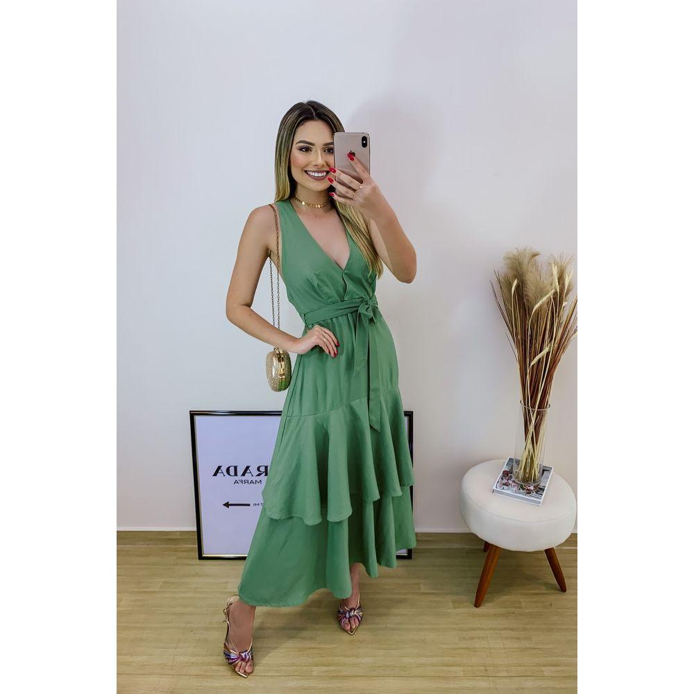 Vestido-Midi-Pregas-Gode-Verde-Farm