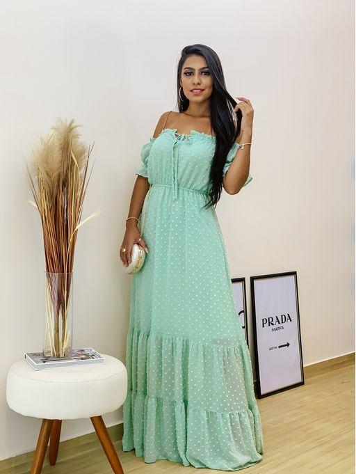 Vestido-Longo-Jacard-Poa-Verde