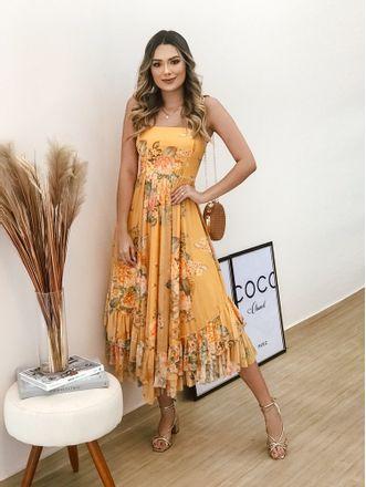 Vestido-Midi-Tule-Floral-Amarelo