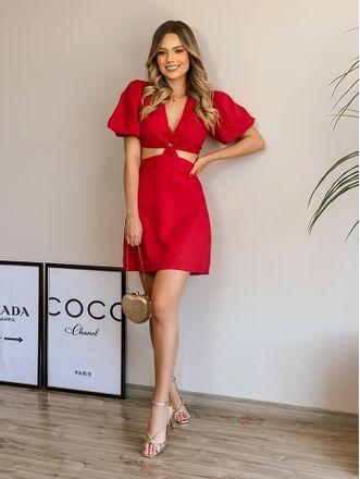 Vestido-Agata-Vermelho-Argola-No-Decote-Linho