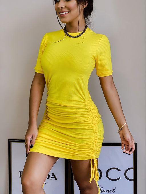 Vestido-Odessa-Midi-Canelado-Amarelo