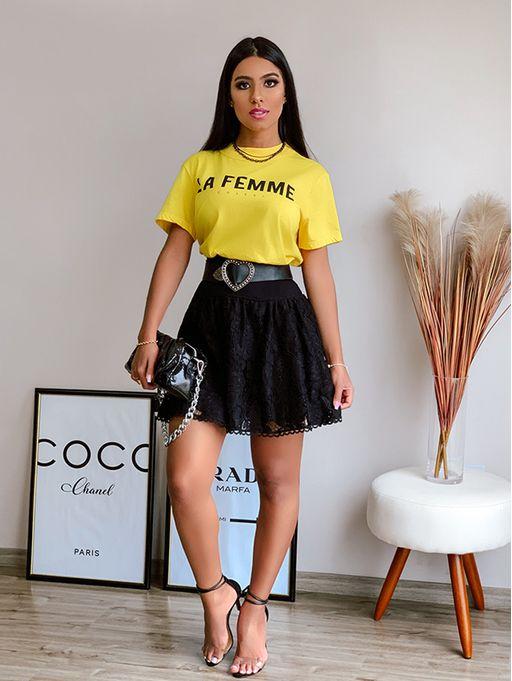 Camiseta-La-Femme-Amarelo-Colcci