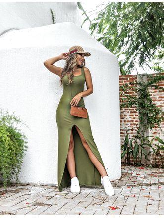 Vestido-Rosania-Verde-Militar-Fenda-Soho