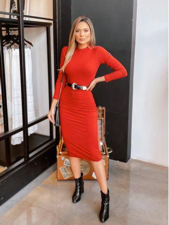Vestido-Midi-Canelado-Colcci-Vermelho-Bordal-Sarah