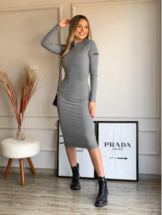 Vestido-Midi-Canelado-Colcci-Mescla-Grafite-Sarah